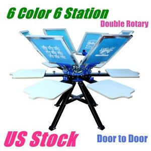 Us 6 Color Silk Screen Printing Press 6 Station Printer Double Rotary Equipment
