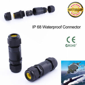 2 3pin Waterproof Junction Box Connector Electric Cable Inline Wire Plug Ip68