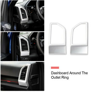 2pc Silver Air Conditioning Air Outlet Vent Cover Ring Decor For Ford F150 2015