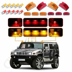 10x Amber Red Roof Cab Marker Light W 5050 Led Bulbs For 03 09 Hummer H2 Suv Sut