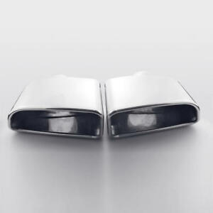 2 5 Inlet Rolled Edge Slanted Exhaust Tips Rectangle Outlet Stainless Steel