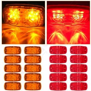 20pcs Amber red 4 Clearance Trailer Rv Double Bullseye 12 Led Side Marker Light