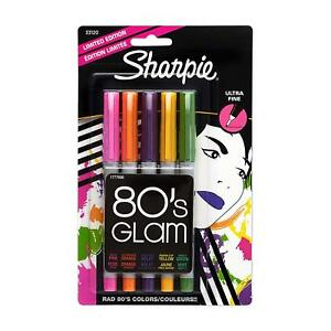 Sharpie Permanent Colored Markers 5 pkg 80 s Glam Ultra Fine Point Limited Ed