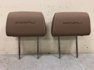Oem 2014 2015 2016 2017 Gmc Yukon Stitched Denali Headrest Brown Leather Sierra