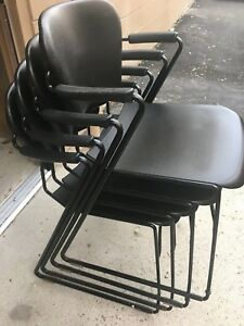 Set Of 4 Heavy Duty Plastic Conference Chairs For Office Waiting Room guest Rece
