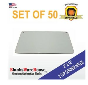 50 Pieces Of Horizontal Sign Aluminum Sublimation Blanks 8 X 12 2 Top Holes