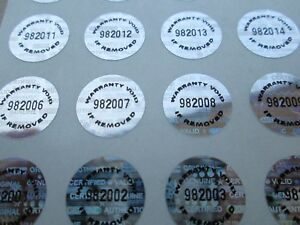 1000 Silver Tamper Evident Warranty Void High Security Labels Stickers 5 Inch