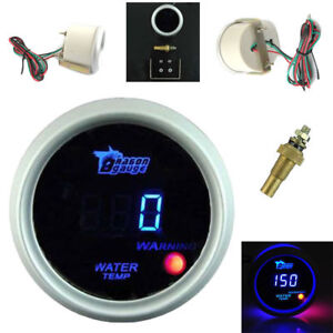 Car 2 52mm Blue Digital Led Electronic Water Temperature Gauge Universal White