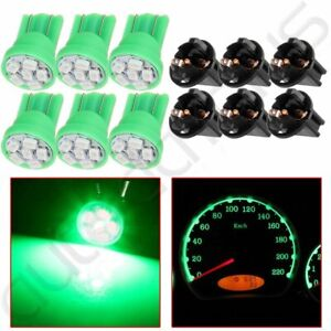 6x T10 Pc168 Led Bulb Green Gauge Cluster Instrument Panel Twist Lock For Ford