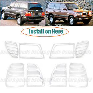 Chrome Headlight Taillight Covers Trims For 1998 2005 Toyota Land Cruiser