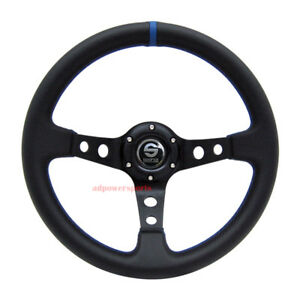 Jdm 350mm Universal Black Deep Dish Racing Sport Steering Wheel Blue Stitching