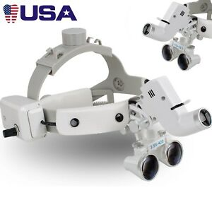 Dental 3 5x Binocular Loupes Surgical Glass Magnifier Led Headlight 280 380mm