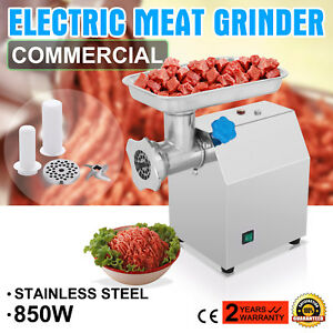 Electric 270lbs h Meat Grinder 2 Blades Plates Sausage Stuffer Stainless Steel