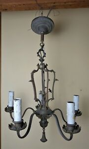 Antique 19th C Victorian French Bronze Chandelier Forged Flower Decorations