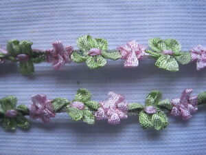 Antique French Silk Tiny Doll Size Pink And Green Flower Ribbon Work 1 Yd