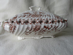 Antique C1887 Ironstone Brown Transferware Tureen With Lovely Floral Motif Japo
