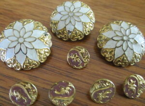 Antique Lot Of 8 Painted Enamel Brass 3 Lg 5 Dimi Vintage French Metal Buttons