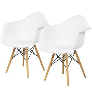 2 White Mid Century Modern Eames Style Accent Arm Chairs Living Room Bedroom