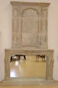New French Fireplace Mantel With Overmantel