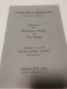 Vintage Kohler Electric Plant Manual Operations Maintenance And Parts Catalog