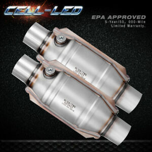 Pair 2pcs 2 Inlet outlet Catalytic Converter Universal Epa Approved Weld on