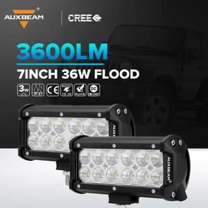 2x Auxbeam 36w Cree Led Work Light Bar Flood Beam Offroad Driving For Jeep Truck