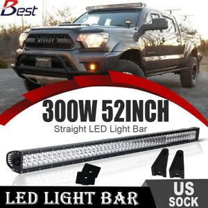 52 Inch Straight Led Work Light Bar Combo brackets Fit For Jeep Wrangler Jk 50
