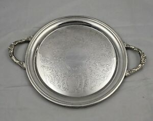 Vintage Sheridan Silverplated 12 Inch Round Platter With Handles