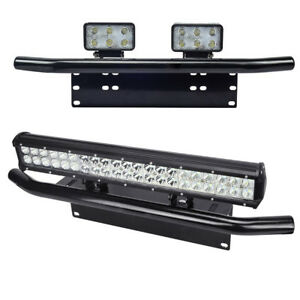 Bull Bar Front Bumper License Plate Mount Bracket Led Work Light Holder Offroad