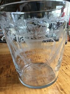 Antique 7 Intricately Etched Clear Glass Vase Or Spill