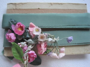 Antique French Sweet Light Green Silk Picot Ribbon Trim 1 Yard