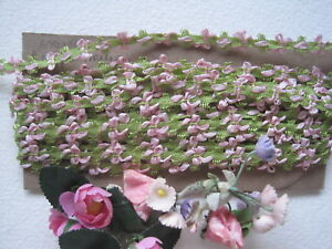 Antique French Silk Tiny Bow Pink Green Ribbon Work Ribbon Trim 1 Yard