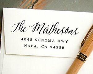 Hand Calligraphy Self inking Address Stamp Pre inked Custom Rubber Stamp White
