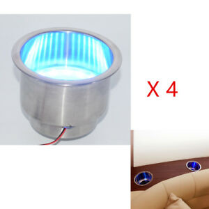 4x Stainless Steel Cup Holder Blue Led Built in For Marine Car Auto 8 Led Lights