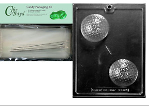 Cybrtrayd Large Golf Ball Chocolate Mold 25 Cello Bags and 25 Twisty Ties
