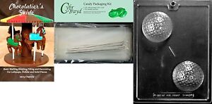 Cybrtrayd Large Golf Ball Chocolate Mold 25 Cello Bags and 25 Twisty Ties Book