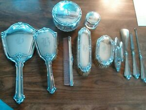 Antique Sterling Silver Dresser Vanity Set Mirror Comb Brush Jars 12 Pieces
