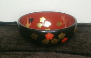 Vintage Japanese Lacquer Ware Bowl Red Black Flower Floral Round Sushi Gold