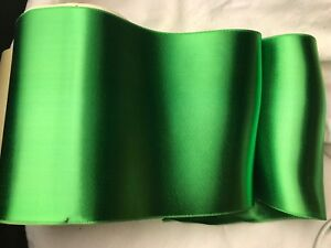 Bty 6 Wide Emerald Green Double Faced Rayon Trim Vintage Satin Ribbon