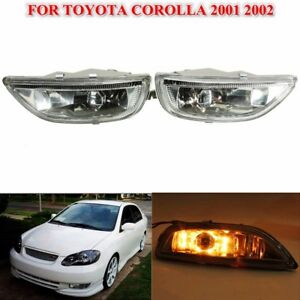 Pair R l Front Bumper Clear Driving Fog Light Lamps For Toyota Corolla 2001 2002