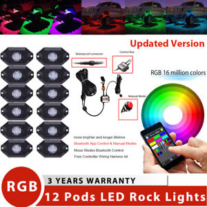 12 Pods Rgb Led Rock Light Offroad Bluetooth Music Strobe Jeep Truck Suv 4x4 Ute