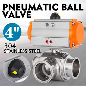 4 Three Way T port Pneumatic Ball Valve Tri clamp Air Actuated Water Steam