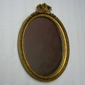 Vintage French Louis Xvi Style Gilded Oval Wall Mirror Gild Frame