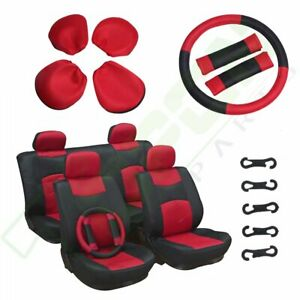 Lot Of 13 Universal Car Seat Covers W Steering Wheel Cover Red Black Washable