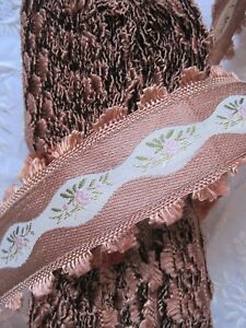 Vintage Brown French 1930 S Rayon Jacquard With Pink Flowers Ribbon Trim 1 Yd
