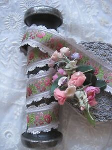 Vintage Grey French 1930 S Rayon Jacquard With Pink Flowers Ribbon Trim 1 Yd