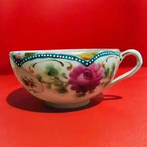 Vintage Bone China Tea Cup Unmarked Hand Painted Floral Rose Design With Gold