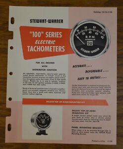 1959 Stewart Warner Catalog Tachometer Tach Vtg Hot Rod Scta Gauge Scta Sw Old
