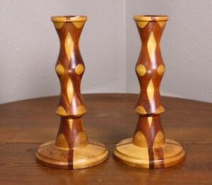 A Marquetry Vtg Wood Pieced Signed Folk Art 2 Candle Sticks F Stanaway Ripon Wi