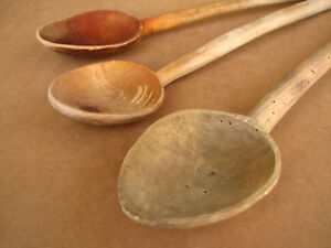 Old Antique Primitive Wooden Kitchen Tools Handmade Spoons Paddles Lot Of 3